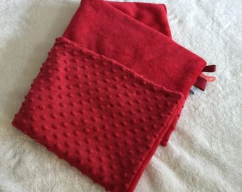 Red polka dots/plush minky baby blanket, baby blanket