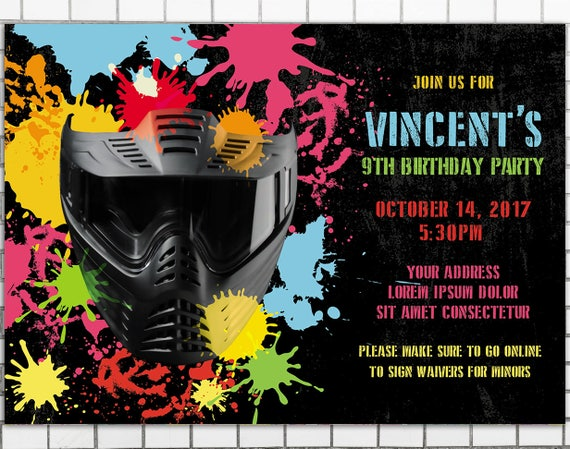 Birthday Paintball Party Invitation Boys birthday