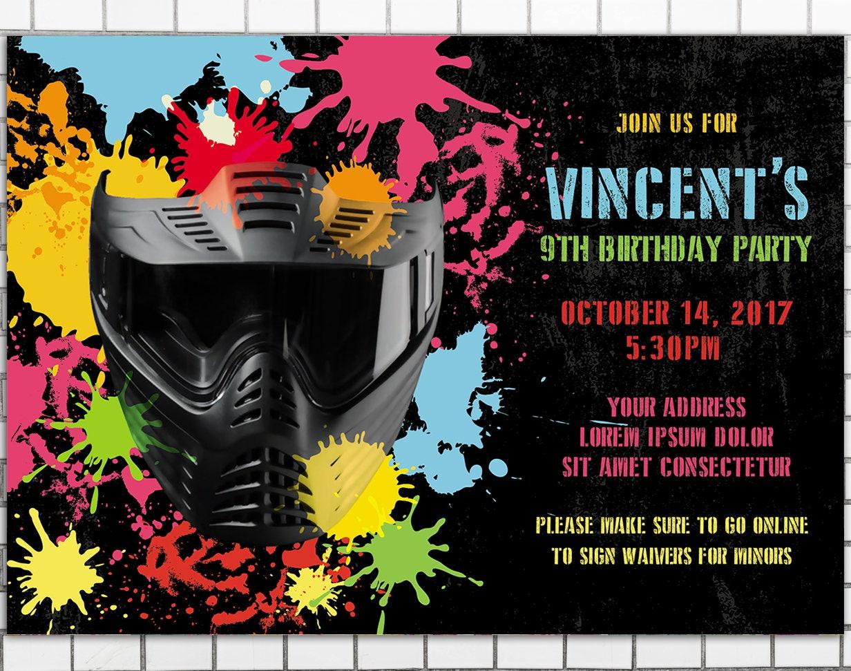 Birthday Paintball Party Invitation Boys birthday