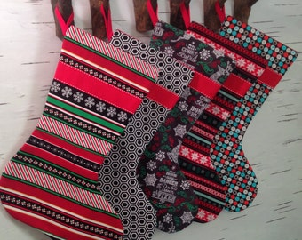 READY TO SHIP - Design Your Own Set of Christmas Stocking in Red, Green, Black, and Turquoise