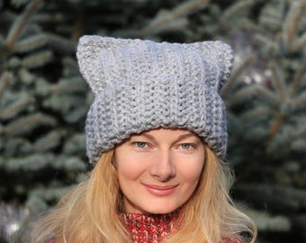 Big pussyhat large pussy hat chunky cat hat light gray pussycat hat chunky beanie hat mens pussyhat mens pussy hat womens pussy hat knit