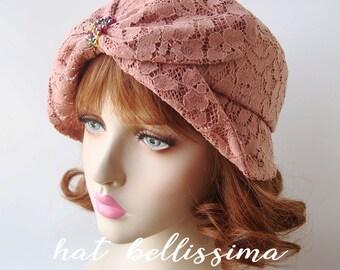 SALE  1920's Vintage Cloche Hat   Lace fabric Vintage Style hat hatbellissima Summer Hats
