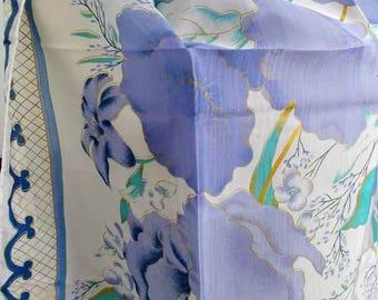 "Spring Iris Flower Silk Neck Scarf Shawl - White Purple Green Floral Print Thai Silk - Sarong Halter Top Head Scarf - 30"" / 76 cm Square"