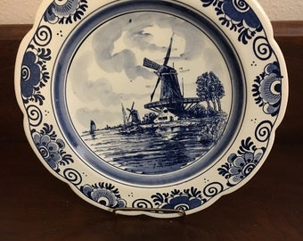 Vintage Blue & White 9 in Delft Plate