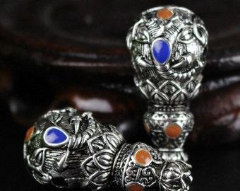 2pcs-Guru beads,alloy beads,head beads,pray bead accessories,39mmX18mm,Tibetan style beads for Jewelry making Y0238