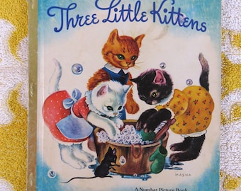Vintage 1970's Three Little Kittens children's book - A Numbat Picture Book - cutest illustrations by Masha!