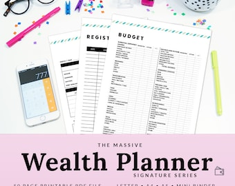 Budget Planner Monthly Budget Financial Planner Finance Binder Finance Organizer Budget Binder Money | PBUD-1000-A | INSTANT DOWNLOAD