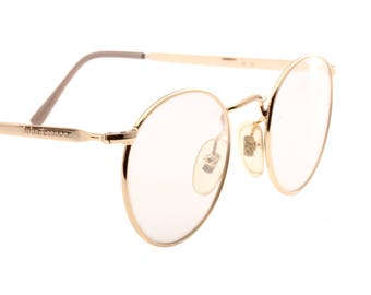 John Lennon by Cameo Optical classic and elegant round golden metal eyeglasses frames made in Italy, 1980s NOS