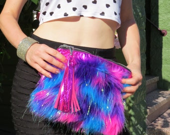 Faux Fur Clutch Bag, Hot Pink Clutch, Glitter Bag, Party Clutch