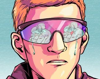 LAST CHANCE - Boys Don't Cry - Giclée Print - A4 Print - Broken Heart Romance Comic Art Retro