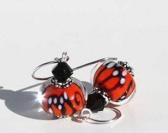 Glass Bead Earrings, Lampwork Beads, Dangle Earrings, Butterfly, Lampwork Earrings, Orange, Monarch Butterfly, Black Swarovski