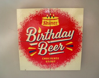 Shiner Birthday Beer Chocolate Stout Magnets From Recycled 12 Packs - Texas Beer Refrigerator Magnets, Pop Culture Beer Birthday Gift