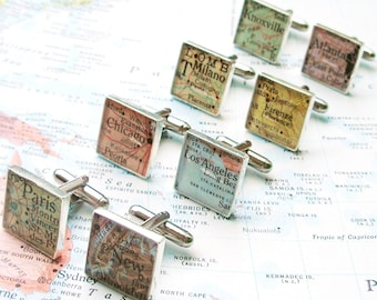Custom Map Cufflinks.  You Select the Journey.