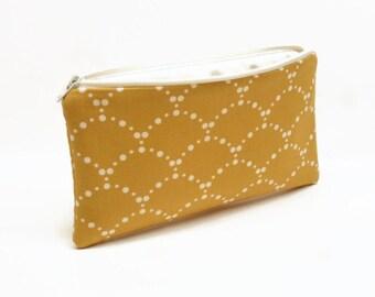 pencil case zipper pouch zipper bag makeup bag makeup pouch mustard shells