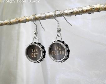 Vintage Typewriter Key Earrings Tab Keys