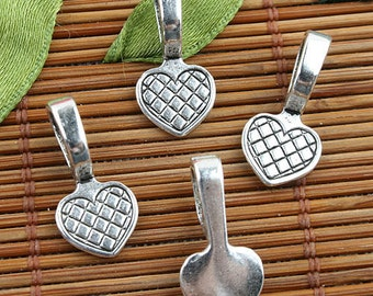 Alloy metal Tibetan Silver color texture heart charms 50pcs EF0129
