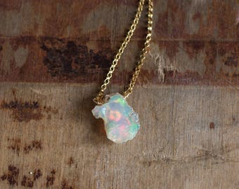 Raw Opal Necklace, Raw Stone Jewelry, October Birthstone Necklace, Opal Jewelry, Gift for Mom, Fire Opal Necklace, Raw Crystal, Gift for Her