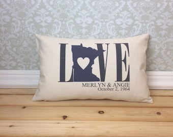 Minnesota Love Pillow, Lumbar Pillow,  Wedding Pillow, Anniversary Pillow, Personalized Pillow, Minnesota State, Valentine Pillow