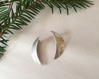 half moon ear jackets | silver stud earrings