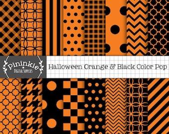 Orange and Black Digital Paper, Orange Halloween Digital Paper, Instant Download, Commercial Use