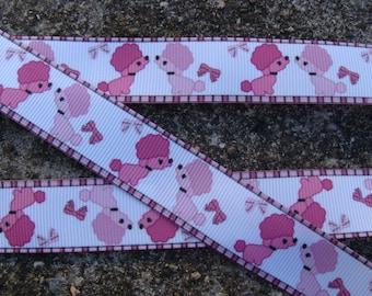 """Pink Poodle Ribbon Printed Ribbon  7/8"""" 3 yards hair bow ribbon craft supplies"""