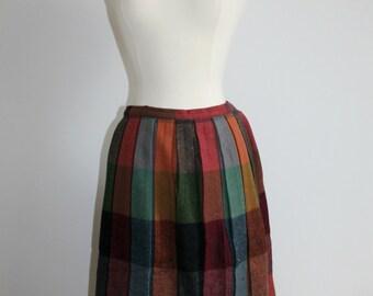 SALE Colourful Wool Plaid Pleated Skirt Ladies XS