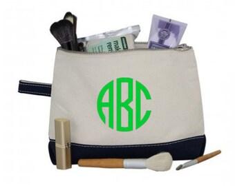 Monogram Makeup Bag - Monogrammed Makeup Canvas Bag - Monogrammed Make Up Case- Personalized Cosmetic Bag -Monogrammed Bridesmaids Gift