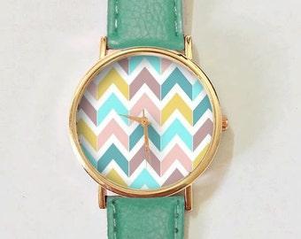 Chevron Pastels Watch , Vintage Style Leather Watch, Women Watches, Boyfriend Watch, Men's watch, Autumn Back to School