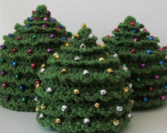 HAT Christmas CROCHET PATTERN Christmas Tree in 5 Sizes 0 to 10 plus years Beaded