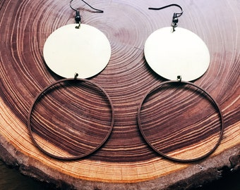 Mixed metal earrings large circles copper and brass