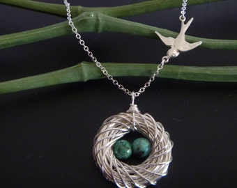 Birds Nest Necklace with two eggs - Mom necklace - Mother's Day Gift -  Mama Bird - Mother of the Bride - Mommy Necklace