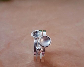 Set of 3 sterling silver stacking rings