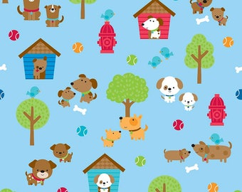SALE Puppy Love Main Blue - Riley Blake Designs - Dogs Pets Trees - Quilting Cotton Fabric - choose your cut