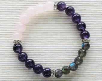 Amethyst Anti Stress Bracelet . stacking amethyst rose quartz labradorite bracelet jewelry