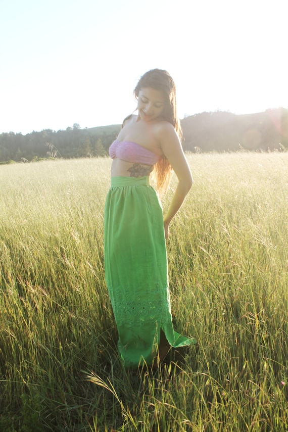 RESERVED CHARTREUSE Vintage 1970's Maxi Skirt Lime Green Cotton Embroidery and Cut Work Boho  Bright Green