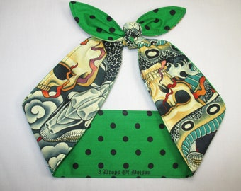 Head Scarf Reversible Green and Black Polka Dots Rockabilly Pin-up Tattoo print Knotted Head scarf Wrap Tie top knot headband