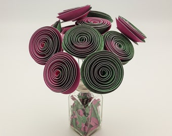 Pink Green Paper Roses | Paper Flowers | Bouquet | Home Decor | Best Gift | First Anniversary | Handmade | Posy