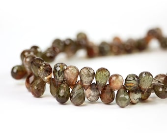 Andalusite faceted teardrop briolette 4 Brown Olive Pink Sheen Semi Precious Gemstone