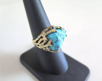18k Gold, Diamond, and Turquoise Ring SZ 7.5