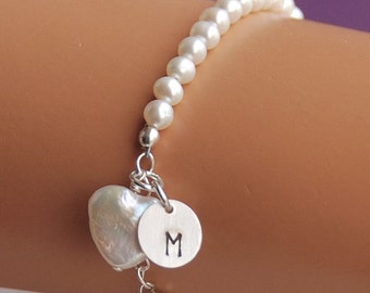 Initial Charm Flower Girl Bracelet, Heart Pearl, Girl Gift, Child Bracelet, Personalized Bracelet, Pure Heart Initial Bracelet, SIZE MEDIUM