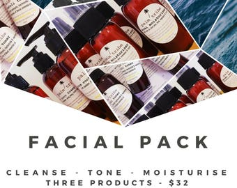 Palm Tribe Facial Pack - 3 products - natural skincare cleanse, tone, moisturise