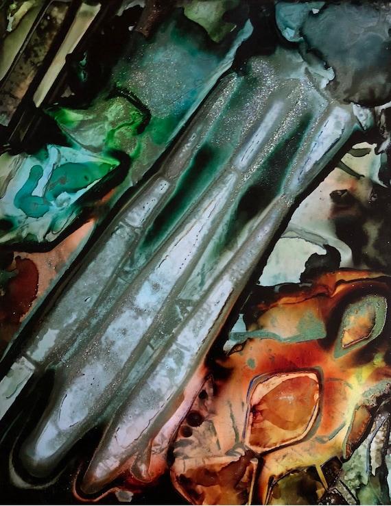 "Original Alcohol Ink Abstract Painting: ""Forward Thinking"" (11"" X 14"")"