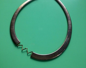Vintage Sterling Silver necklace with off center chevron design