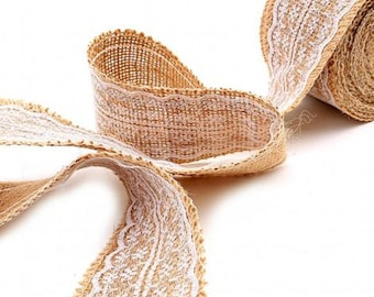 "Burlap Lace Ribbon, 2.5"" Burlap Lace Trim, Rustic Wedding Decor, Vintage Wedding Trim, Natural Jute Strip With White Lace"