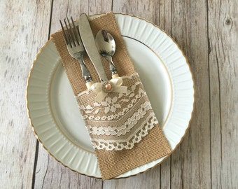 10 burlap and lace rustic silverware holders  wedding, bridal shower, baby shower