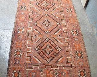 41% OFF FLAT SALE Semi Antique Turkoman Muqray Flat Weave Kilim Rug