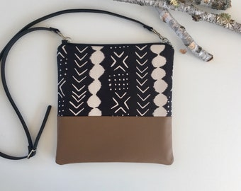 Mudcloth & Vegan Crossbody Purse //Crossbody Bag // Purse// Vegan Crossbody Bag // Vegan // Vegan Purse