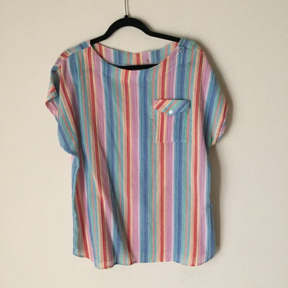 Striped Dolman Top | XL candy color vertical stripe plus size loose womens vintage extra large 80s suff sleeve top shirt blouse kitsch indie