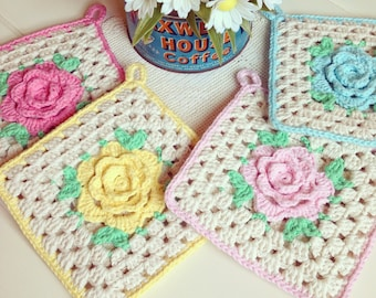 recreate a pretty crochet rose pot holder