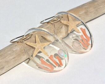Beach Hoop Earrings, Ethiopian Opal Hoops, Starfish Hoop Earrings, Hawaiian Shell Earrings:  Ready Made